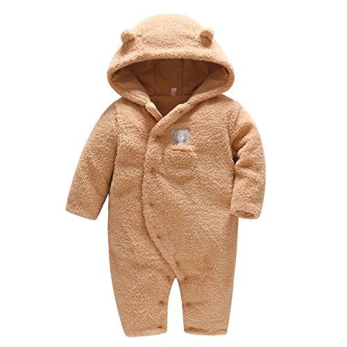 Vine Baby Mädchen Schneeanzüge Winter Fleece Overall mit Kapuze Strampler FOOTED Jumpsuit, Braun 6-9 Monate - 9 Monate Overall