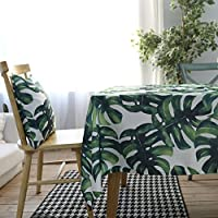 Drizzle Mantel para Mesa de Cocina o Salón Monstera Plantas Verdes Hojas de Palma Rectangular Impermeable Lavable Diseño de Comedor Decoración del Hogar (55 * 63in/140 * 160cm)
