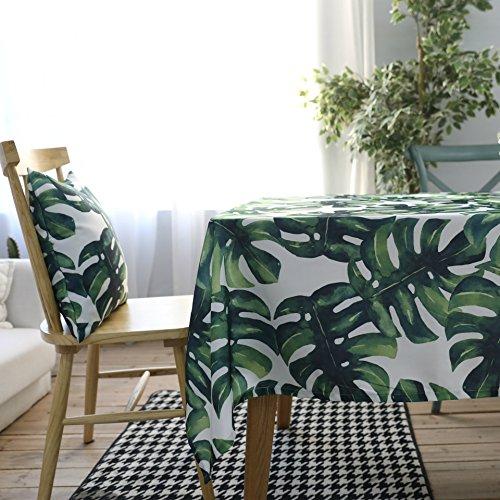 Drizzle Mantel para Mesa de Cocina o Salón Monstera Plantas Verdes Hojas de Palma Rectangular Impermeable Lavable Diseño de Comedor Decoración del Hogar