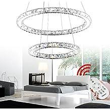 VINGO® 44W 2 Ringe LED Deckenleuchte Kreative Deckenlampe Kronleuchter  Designleuchte Dimmbar Mit Fernbedienung Kristall Design