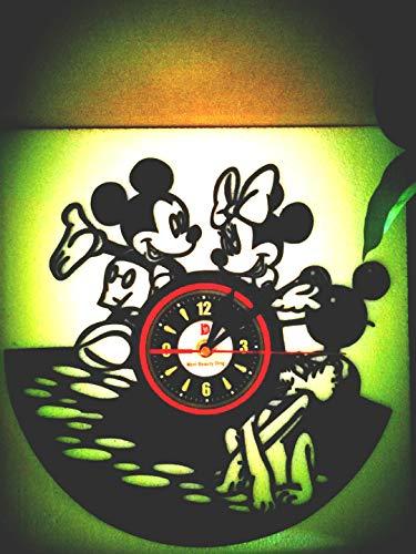 Meet Beauty Mickey Mouse niedliche Disney Vinyl-Wanduhr, kreatives Schlafzimmer, Kunst Deko - einzigartige Geschenkidee für Jungen Mädchen Weihnachten Halloween Kinder (30 cm, schwarz)