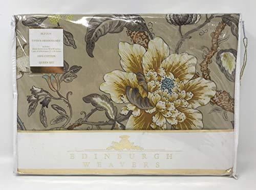 Edinburgh Weavers Blyton Bettwäsche-Set für Queen-Size-Betten mit Blumen-Design, 100% Baumwollperkal, Olivgrün/Taupe / Hellbraun/Senfgelb / Blau/Beige / Elfenbein/Antik Farben (British-bettwäsche-set)