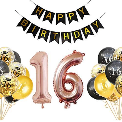 Crazy-m 16 Geburtstag Deko Geburtstag Dekoration Set Happy Birthday Luftballons Gold Schwarz mit Gold Konfetti Ballons für Geburtstag Partydeko Set Kindergeburtstag Deko für Mädchen und Jungen
