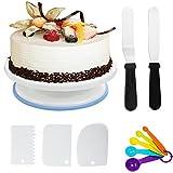Tortenplatte drehbar Tortenständer, 27cm Kuchen Drehteller Cake Decorating Turntable Kuchenplatte + Streichpalette +Winkelpalette + 3er Dekorieren Kamm + 5er Messlöffel für Backen Gebäck, Zuckerguss - Weiß