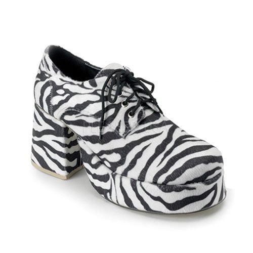 Funtasma 70s Disco-chaussures de plateau pour hommes: Jazz-02 imprimé zèbre