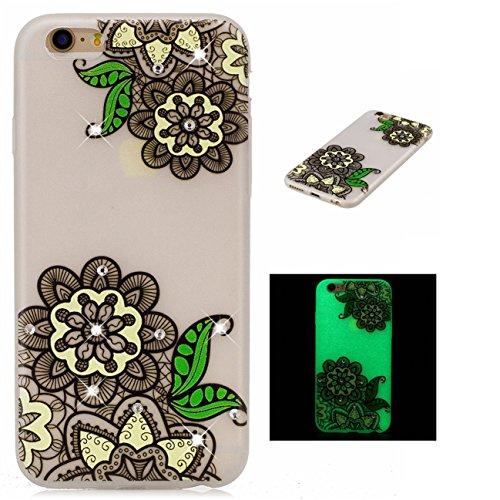 Apple iPhone 7 4.7 hülle, Voguecase Schutzhülle / Case / Cover / Hülle / TPU Gel Skin mit Nachtleuchtende Funktion (Pferd 02) + Gratis Universal Eingabestift Grüne Blätter 02