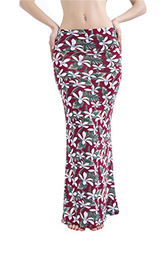 Yeemiee Red Floral Long Maxi Skirts for Women Fold over Knit Maxi Skirt L (Knit Flare Skirt)