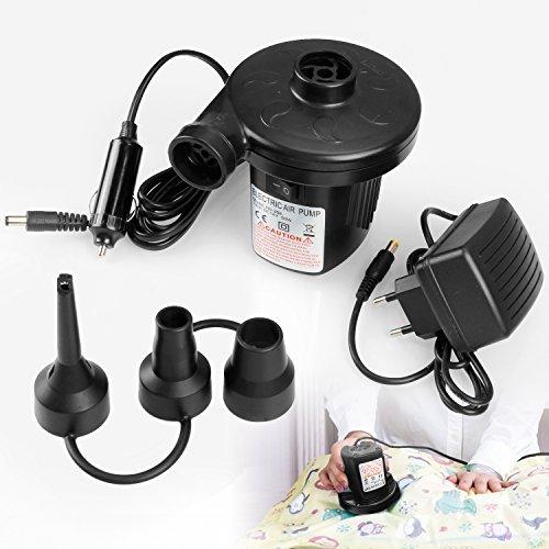 Elektrische Luftpumpe, Vitutech 2 in 1 AC 220V-240V/12V Elektropumpe 50W Luftkompressor Schlauchboote Elektropumpe 3 Aufsätze für Home Camping Luftmatratzen, Planschbecken, Schlauchboote Aufblähungen und Deflates