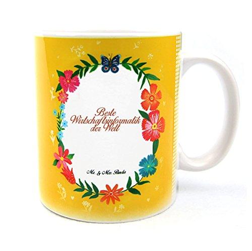 Mr. & Mrs. Panda Tasse Design Frame Happy Girls - 100% handmade in Norddeutschland - Blumen Liebe Flower, Teetasse, Geschenk, Tasse, Schenken, Tee, Cup, Becher, Keramik, Porzellan, Kaffeetasse, Frühstück