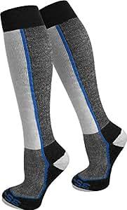 2 Paar Spezial Ski Thermo Kniestrümpfe mit Thermolite Fasern und Elasthan Farbe Blau gestreift Größe 35/38
