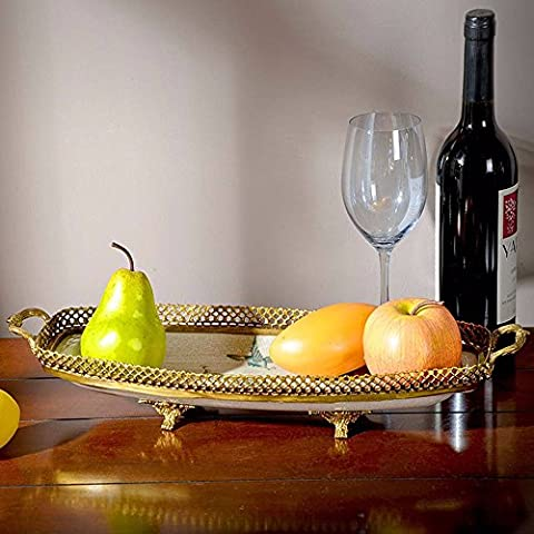 Upper-Retro luxury decoration accessories Home Furnishing fruit plate dish fruit compote with rectangular copper porcelain ornaments,White