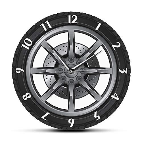 YJSMXYD Orologio da Parete Car Service Repair Proprietario del Garage Ruota Pneumatici Custom Car Auto Orologio da Parete Orologio Vintage Cool Mechanic Gift Ideale per Officina Auto