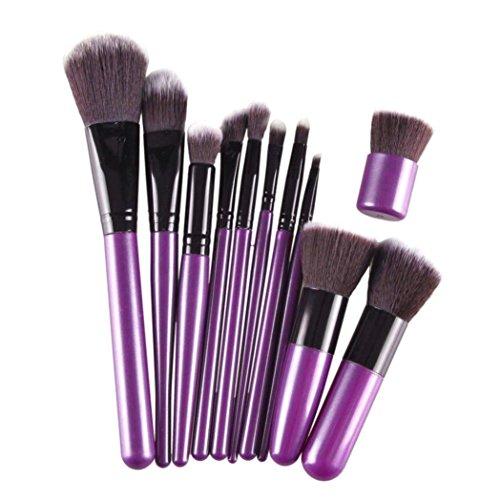 Kolylong Kit de Pinceau maquillage Professionnel 11 Pcs Brosse CosméTiques Pinceau De Maquillage Sets Kits Outils Brosse Visage Eyeshadow Brush Noir+ Voilet