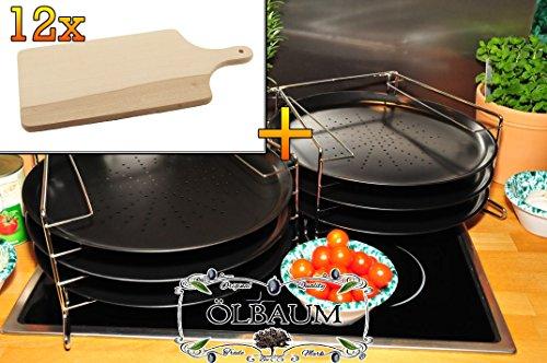 6 Stk. rundes Pizzablech mit gelochtem Boden + 2x 4 stufiger Edelstahl-Pizzablechhalter, TRADITIONELL, ca. 33 cm x 1 mm & 12 mal Massiv-Grill-Holzbrett ca. 15 mm stark, Schneidebrett mit Holzgriff, mit abgerundeten Kanten, Maße viereckig ca. 35 cm x 16 cm als Bruschetta-Servierbrett, Brotzeitbretter, Steakteller schinkenbrett rustikal, Schinkenteller von BTV, Brotzeitteller Bayern, Wildbrett, Wildbret,