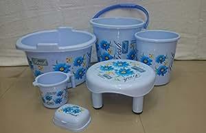 Joyo Bathroom Set Economy 6 Pcs (Tub 2, Dolly 17, Comfort Patla (S), Use Me Medium With Lid, Flora 1100, Camry Soap Case) Printed