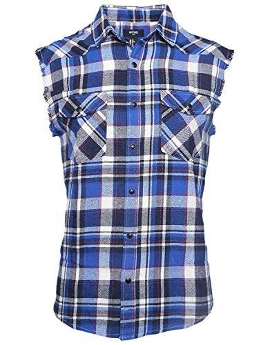 Nutexrol Herren Ärmellose Kariert Flanell Hemden Freizeithemd Sleeveless T-Shirt Blau und Weiß L (Flanell-hemd Karierte)