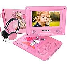 """7.5"""" Lettore DVD Portatile, Schermo Girevole, Batteria Ricaricabile 5 Ore, Cuffie E Borsa Corrispondenti, Supporti SD Card, Porta USB, Formati Di Riproduzione Diretta AVI / RMVB / MP3 / JPEG (rosa)"""
