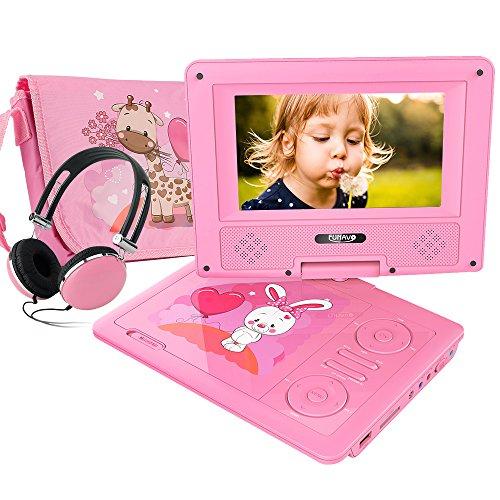 FUNAVO 7.5\'\' Tragbarer DVD-Player, Schwenkbaren Bildschirm, 5 Stunden Akku, Unterstützt SD-Karte und USB, mit Kopfhörer, Tragetasche, Auto-Ladegerät (Rosa)