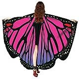 Faschingskostüme Frauen Schmetterling Schal Butterfly Wings Flügel Schalschmetterling kostüm Schmetterlingsflügel feenhafte Nymphe Pixie Halloween Cosplay Schmetterlingsf Cosplay LMMVP (Hot Pink)