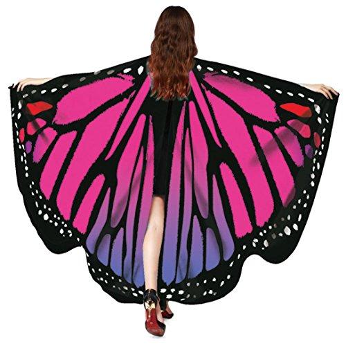 auen Schmetterling Schal Butterfly Wings Flügel Schalschmetterling kostüm Schmetterlingsflügel feenhafte Nymphe Pixie Halloween Cosplay Schmetterlingsf Cosplay LMMVP (Hot Pink) (Pixie Halloween-kostüme)