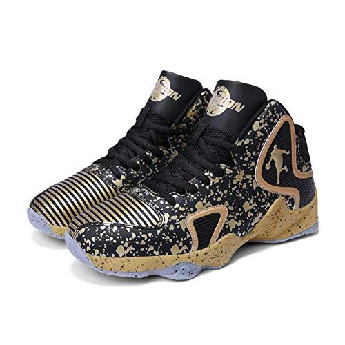 JUANN 2019 neue Männer Basketball-Schuhe Frühling Herbst Basketball Schuhe High-Top Basketball Sneakers rutschfeste verschleißfesten,Gold,42 (Gold High-tops Männer)