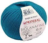 Biowolle Lane Mondial Bio Lana Fine Fb. 206 Enzian, 50g Reine Schurwolle zum Stricken, Babywolle Bio