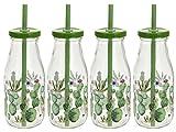 4x Glas Trinkflasche mit Deckel + Strohhalm 0,5l Glas Flasche