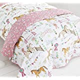 Horses Animals Girls Quilted Decorative Luxury Childrens Throw Throwover New