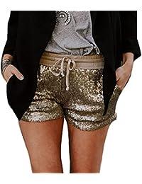 fbac75fc4c6b Shorts Damen Elegante Glitzer Pailletten Elastische Taille mit Kordelzug  Hot Pants Fashion Mädchen Schöne Slim Fit…