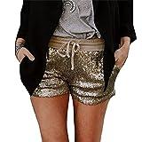 Shorts Damen Elegante Glitzer Pailletten Elastische Taille mit Kordelzug Hot Pants Fashion Mädchen Schöne Slim Fit Club Party Kurze Hose Bekleidung (Color : Gold, Size : XL)