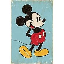 "Póster Retro de Mickey Mouse ""Fondo Azul"" Formato grande (61x91,5 cm) (61cm x 91,5cm) + embalaje para regalo"