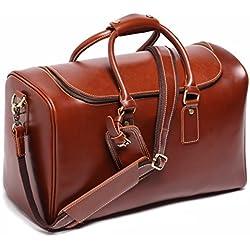 Leathario bolso de viaje para hombre de piel sintética de cuero genial equipaje de mano bolso de Mano de Piel maletas para negocio o trabajo de color rojo- marrón