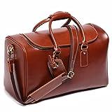 Leathario Herren Ledertasche Handgepäck koffer leder Reisetasche Freizeittasche Vintage Retro Braun