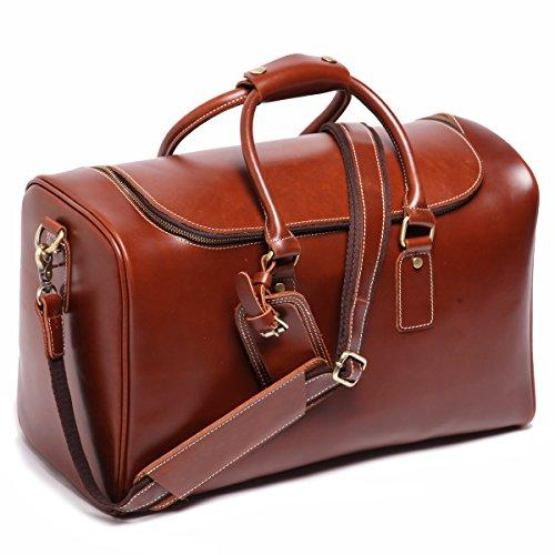 Leathario Herren Echtleder Ledertasche Handgepäck Reisetasche Freizeittasche Vintage Retro Braun