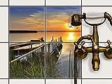creatisto Fliesenfolie selbstklebend 20x20 cm 2x2 Design Bridge to the sun (Erholung) Klebefolie Küche Bad
