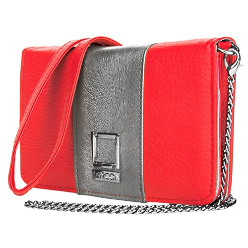 Price comparison product image Lencca Kyma Vegan Leather Crossbody Smartphone Clutch Wallet Purse with Removable Chain Shoulder Strap - Pink / Silver Grey