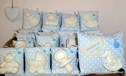 Bomboniere, bomboniera cuscini grandi con gessi profumati bimbo o bimba - battesimo nascita annuncio o segnaposto - misura piccola