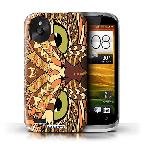 Kobalt® Imprimé Etui / Coque pour HTC Desire X / Loup-Vert conception / Série Motif Animaux Aztec Hibou-Orange