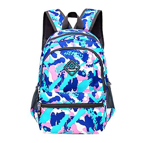 Imagen de super moderno unisex nylon bolso de escuela de los niños  senderismo  fresco  deportiva, mujer infantil hombre, blue&pink, medium
