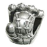 Die besten Baseball Catchers Mitts - 925Sterling Silber Baseball Catcher 's Mitt Handschuh Perle Bewertungen