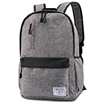Allinside Lightweight School Backpack, Water-Resistant Casual Daypack College Rucksack with USB Charging Headphone Port, Travel Laptop Backpack Fits 15 Inch Laptop, Grey