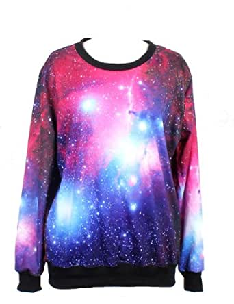 PrettyGuide Women Purple Red Starry Space Galaxy Print Long Sleeve Loose Lycra Cotton Blouse Jumper Pullover Tops