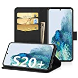 EasyAcc Case for Samsung Galaxy S20 Plus, Leather Wallet Case Protector Flip Cover with Kickstand Card Holder Card Slots Black PU Leather for Samsung Galaxy S20 Plus 6.7''