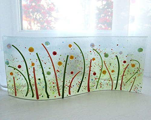 Springtime Garden fused glass wave, curved free-standing glass picture