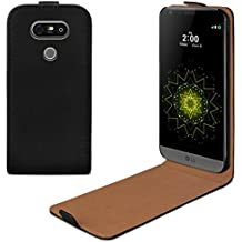 eFabrik Housse pour LG G5 Etui de protection Flip Case Cover Sac Poche similicuir, Couleur:Noir