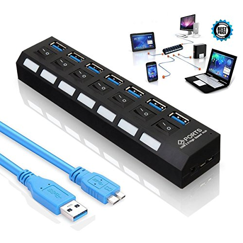 geekbox 7Port USB 3.0Hub, Super Schnelle Datenübertragung Anschlüsse Splitter mit on/Off Schalter und LEDs Hot Plugin Plug & Play für PC Laptop, Computer Windows Mac, iPhone 7, LG, iPad, Samsung (Laptop Für Plug-in)