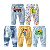 Monvecle unisex bambino 5 pezzi in cotone per neonati a bambini pantaloni lunghi 12-18M