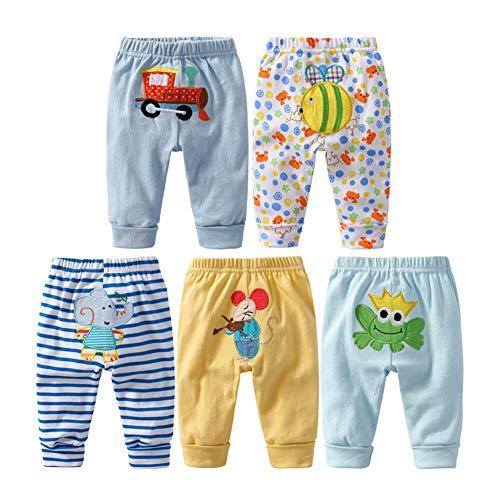 Monvecle unisex bambino 5 pezzi in cotone per neonati a bambini pantaloni lunghi 9-12m