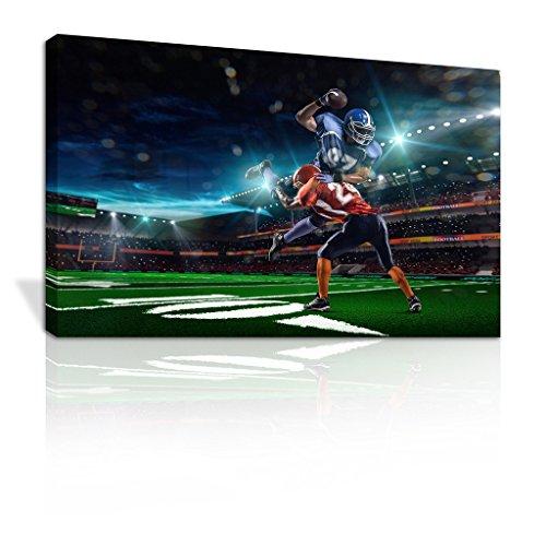 "Vinyl Graphics Online Ltd American Football Stadium Tackle Leinwandbild Kinder Schlafzimmer Design-C023, Kiefer, 56"" x 40"""