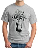 OM3® - Guitar Tree Roots - T-Shirt Gitarren Baum Instruments Bass Drums Keyboard Audio Music Concert, XL, Grau Meliert
